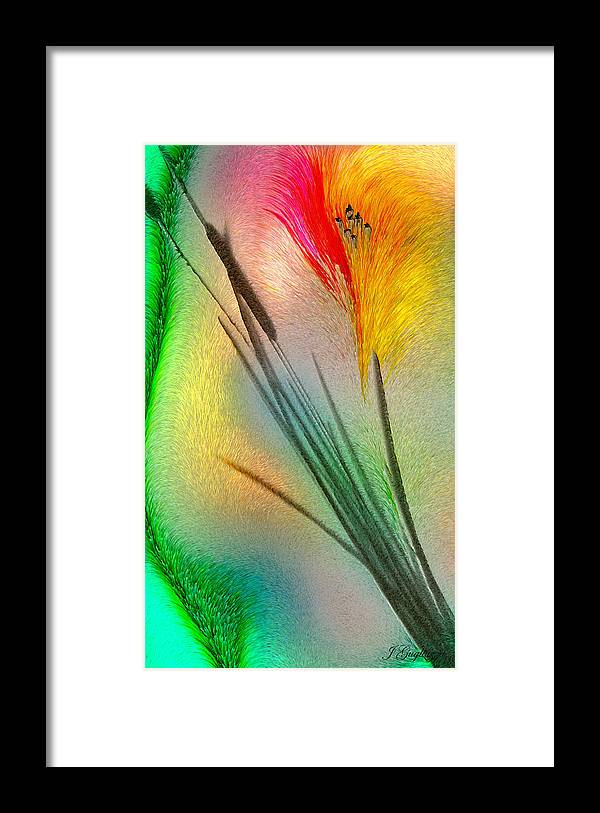 Cattails Framed Print featuring the digital art Cattails by Jean Gugliuzza