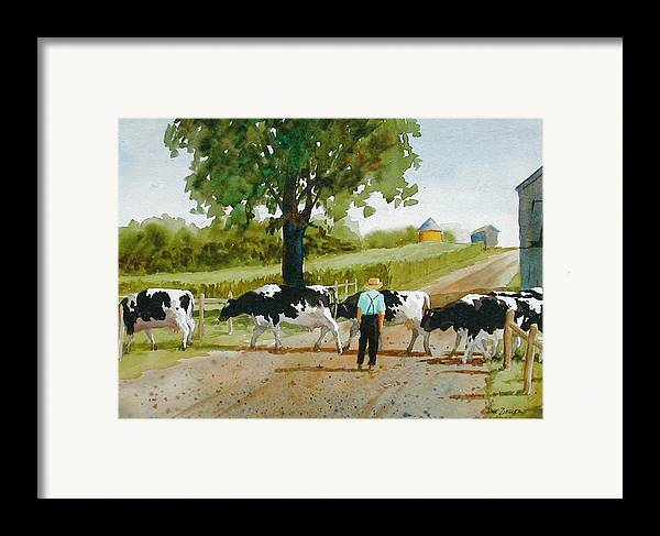 Cows Framed Print featuring the painting Cattle Crossing by Faye Ziegler