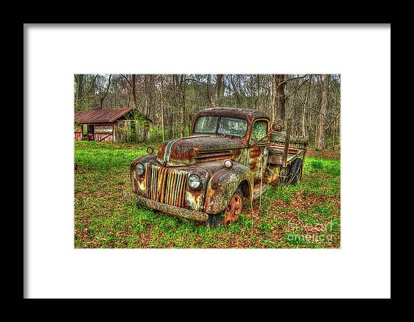 Reid Callaway 1947 Ford Stakebed Pickup Truck Framed Print featuring the photograph Caught Behind 1947 Ford Stakebed Pickup Truck Art by Reid Callaway