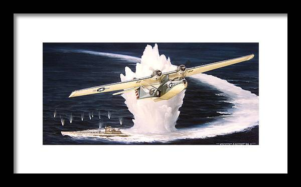 Military Framed Print featuring the painting Caught On The Surface by Marc Stewart