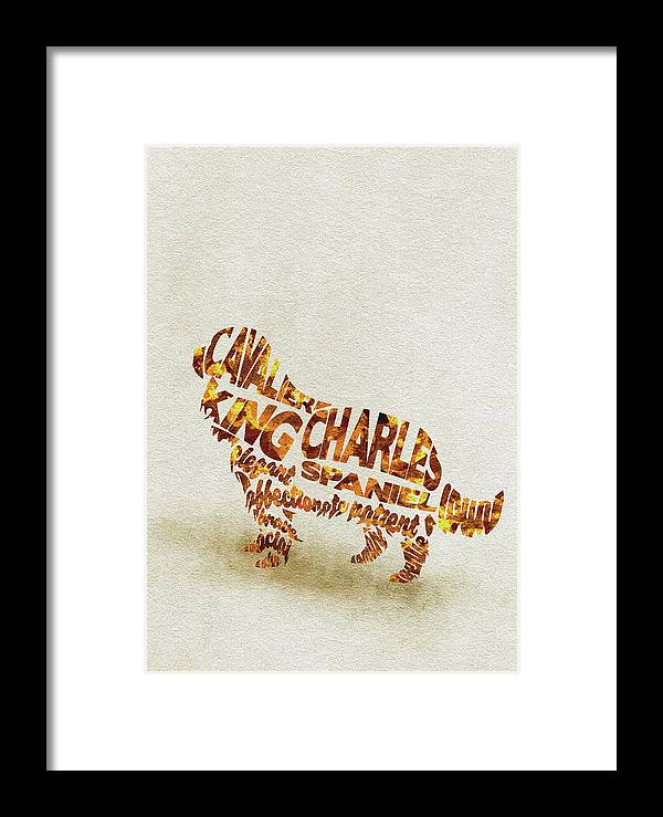 Cavalier Framed Print featuring the painting Cavalier King Charles Spaniel Watercolor Painting / Typographic Art by Inspirowl Design