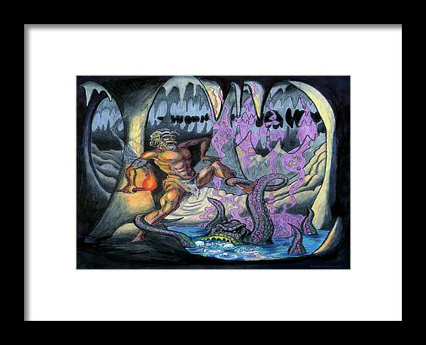Cave Framed Print featuring the painting Cave Creature by Kevin Middleton