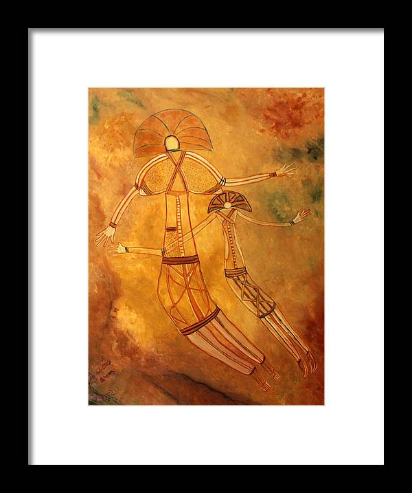 Cave Painting Framed Print featuring the painting Cave Love by Pilar Martinez-Byrne