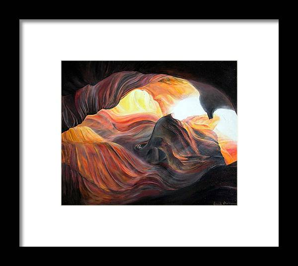 Landscape Framed Print featuring the painting Caverne by Muriel Dolemieux