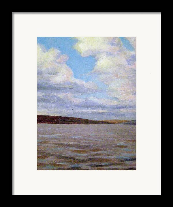 Landscape Framed Print featuring the painting Cayuga Lake by Evelynn Eighmey