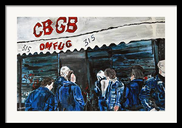 New York City Paintings Framed Print featuring the painting Cbgb's by Wayne Pearce