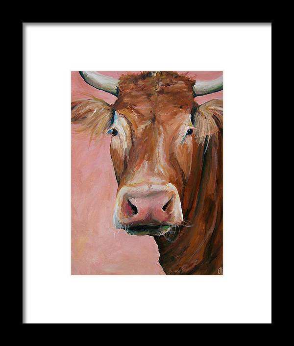 Cow Framed Print featuring the painting Cecilia The Cow by Cari Humphry