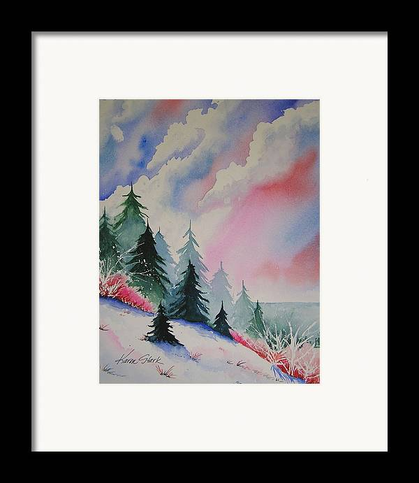 Snow Framed Print featuring the painting Cedar Fork Snow by Karen Stark