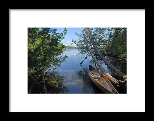 Boundary Waters Canoe Area Wilderness Framed Print featuring the photograph Cedar Strip Canoe And Cedars At Hanson Lake by Larry Ricker