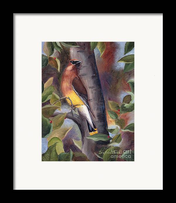 Bird Framed Print featuring the painting Cedar Waxwing by Brenda Thour