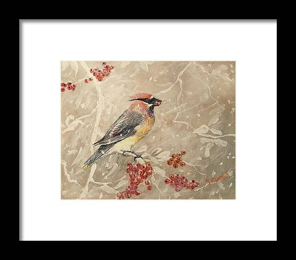 Cedar Waxwing Framed Print featuring the painting Cedar Waxwing by ML McCormick