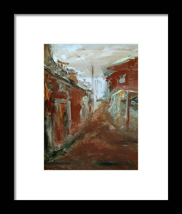 Female Art Framed Print featuring the painting Ceder Town by Rome Matikonyte