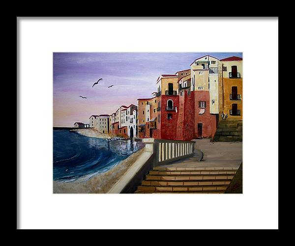 Imbrunire Su Cefalu Framed Print featuring the painting Cefalu by Anthony Meton