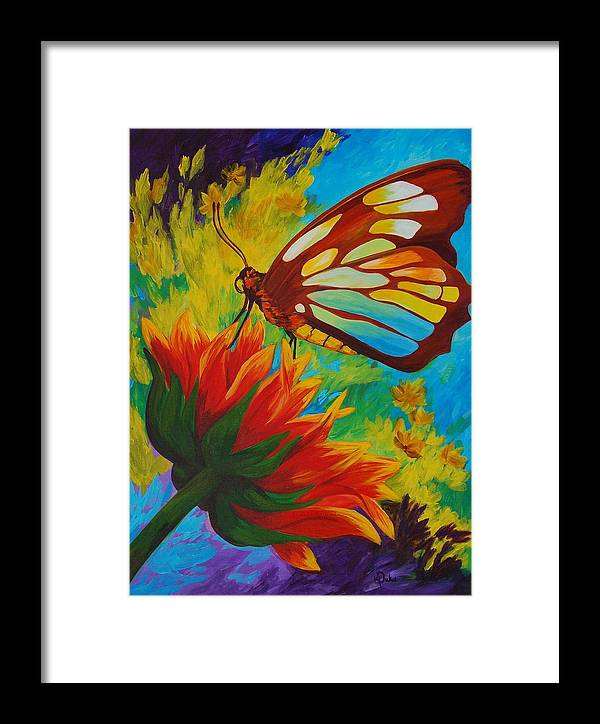 Gerbera Framed Print featuring the painting Celebrate by Karen Dukes