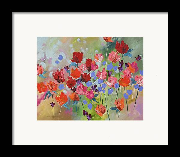 Original Framed Print featuring the painting Celebrate by Linda Monfort
