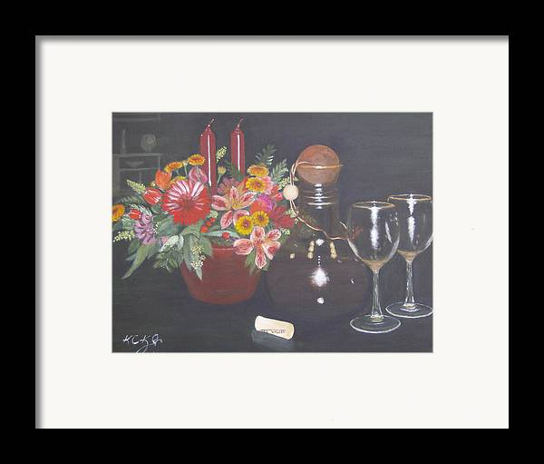 Flower Arrangement Framed Print featuring the painting Celebrating 60 by KC Knight