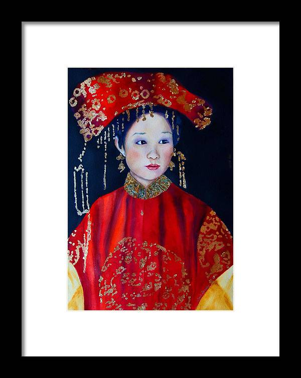 Asian Woman Framed Print featuring the painting Celebration In Red by Gail Zavala