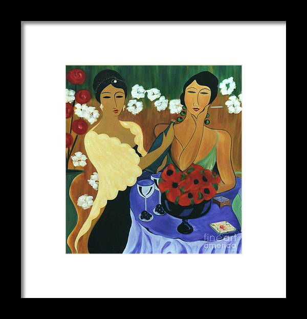 #female Framed Print featuring the painting Celebration by Jacquelinemari