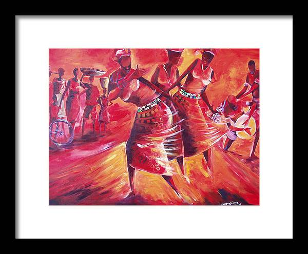 Celebration Framed Print featuring the painting Celeration by Michael Echekoba