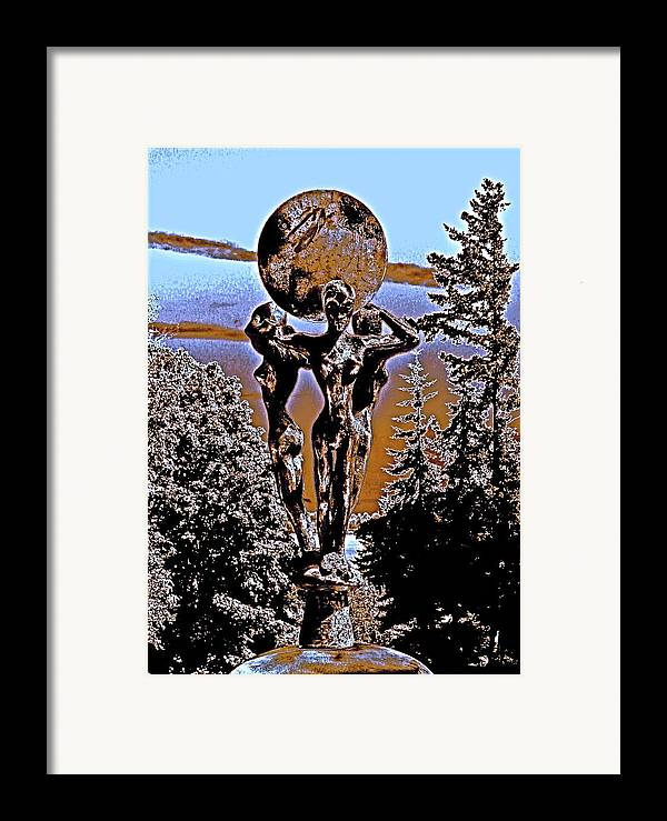 Cosmic Celestial Figure Nude Female Crystal Ball Trees Bronze Sky Digital Dawn Morning Fertility Sun Framed Print featuring the photograph Celestial Conversation Morning Dawn by Eric Singleton