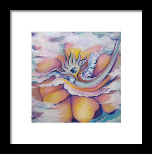 Surreal Artwork Framed Print featuring the painting Celestial Eye by Jordana Sands