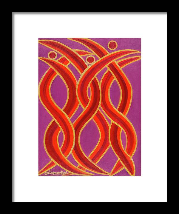 Celestial Fire Framed Print featuring the painting Celestial Fire by Adamantini Feng shui