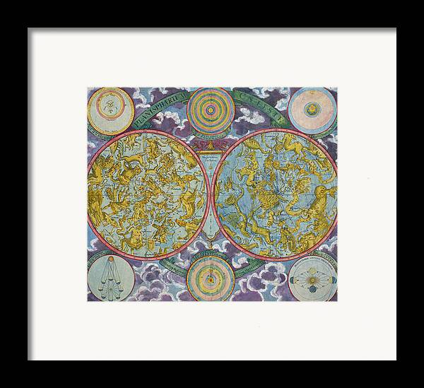 Framed Print featuring the drawing Celestial Map Of The Planets by Georg Christoph Eimmart