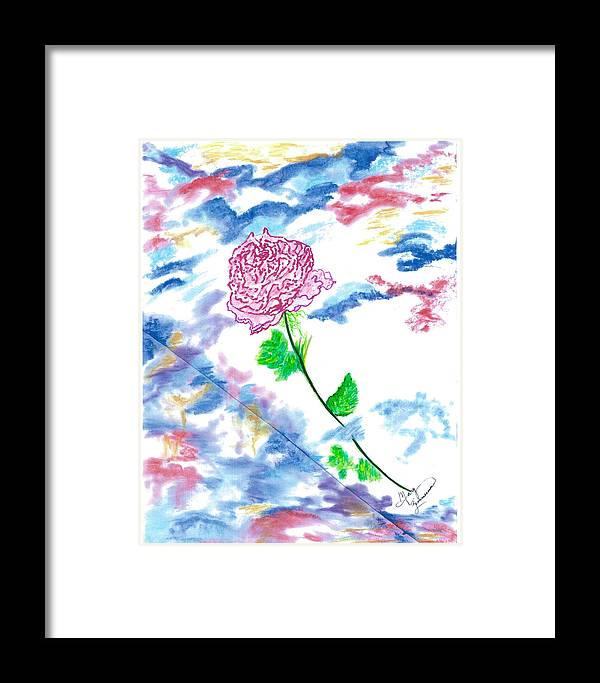 Flowers Framed Print featuring the painting Celestial Rose by Mary Zimmerman
