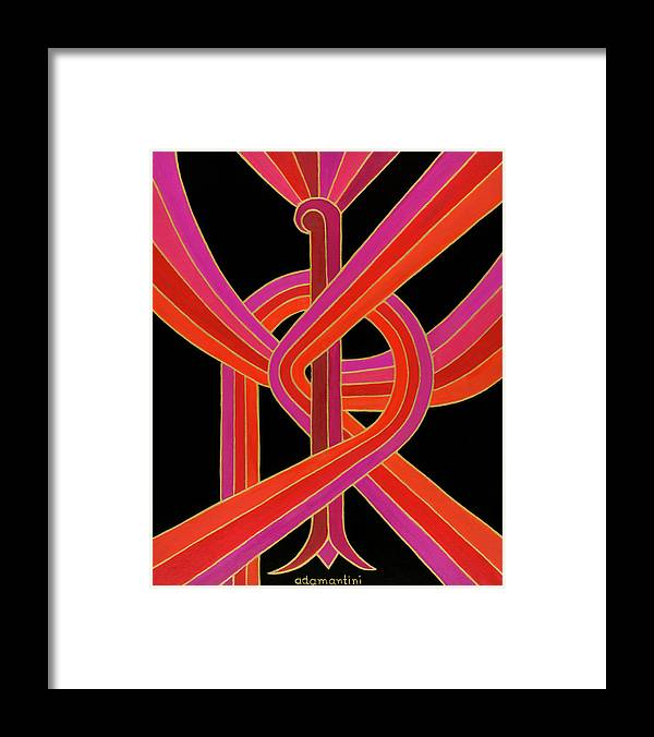 Phoenix Framed Print featuring the painting Celestial Vermillion Bird by Adamantini Feng shui