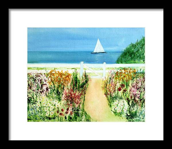 Landscape Framed Print featuring the painting Celia Thaxter by Michela Akers