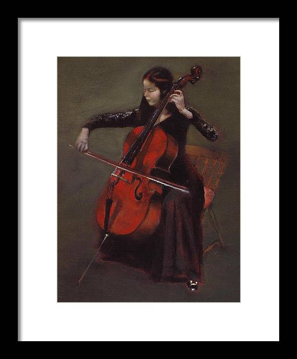 Young Lady Framed Print featuring the painting Cello Player by Takayuki Harada