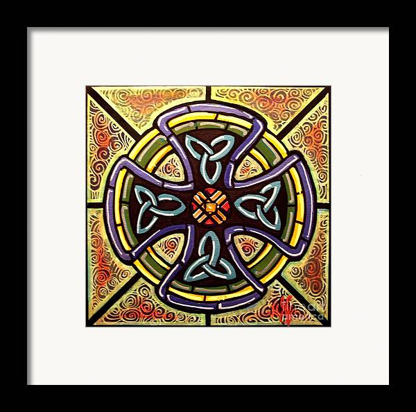 Celtic Framed Print featuring the painting Celtic Cross 2 by Jim Harris
