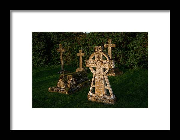 St Mary's Framed Print featuring the photograph Celtic Cross St Divids Church 3 by Douglas Barnett