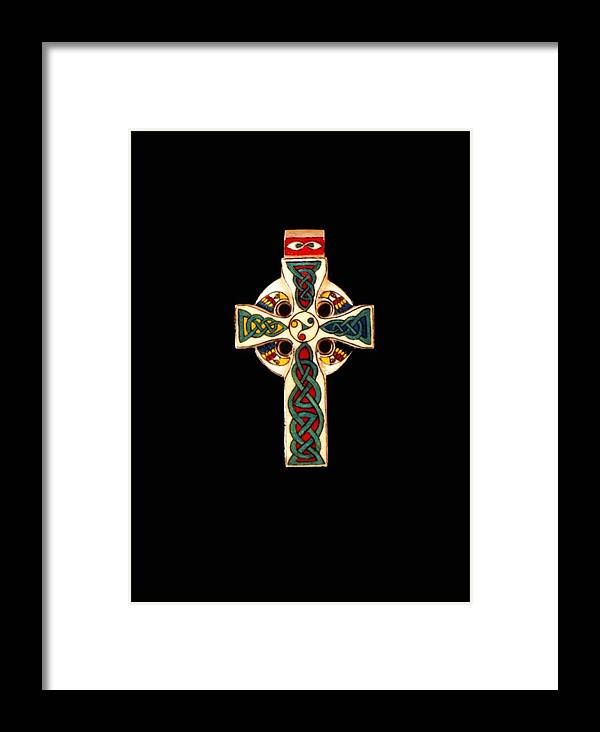 Scrimshaw Framed Print featuring the jewelry Celtic Cross by Thomas Burke