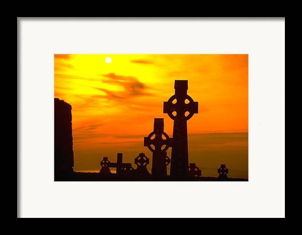 Christian Framed Print featuring the photograph Celtic Crosses In Graveyard by Carl Purcell