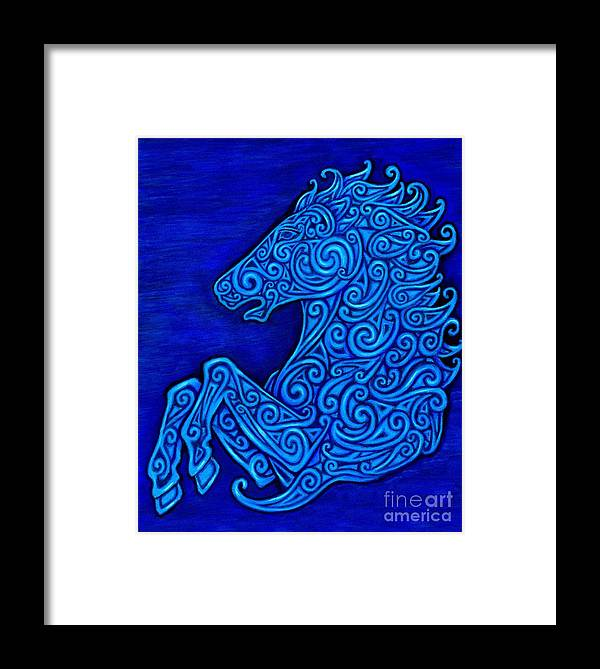 Celtic Framed Print featuring the drawing Celtic Horse by Rebecca Wang