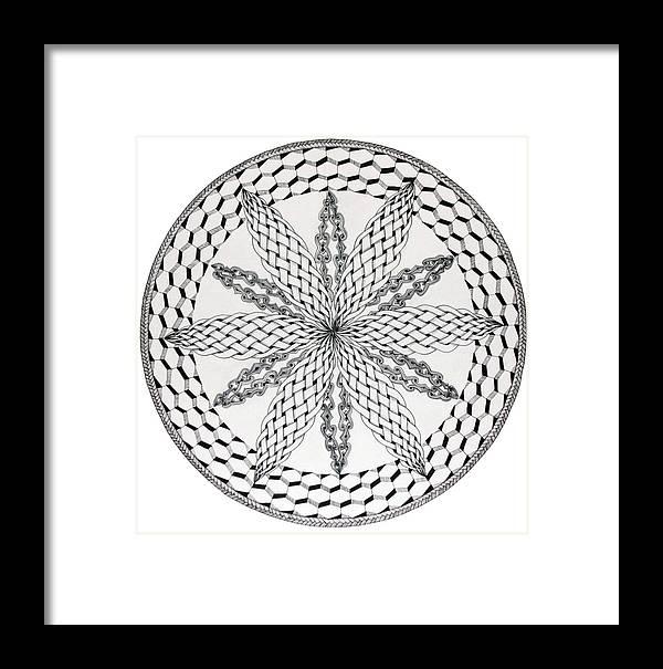 Mandala Framed Print featuring the drawing Celtic Knot Mandala by Susan Singer