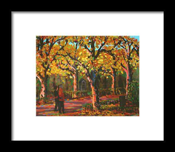 Walk Framed Print featuring the painting Cemetary In Autumn by Art Nomad Sandra Hansen