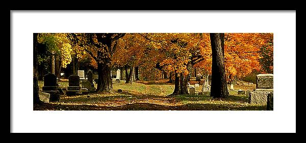 Fall Framed Print featuring the photograph Cemetary Road In Autumn by Roger Soule