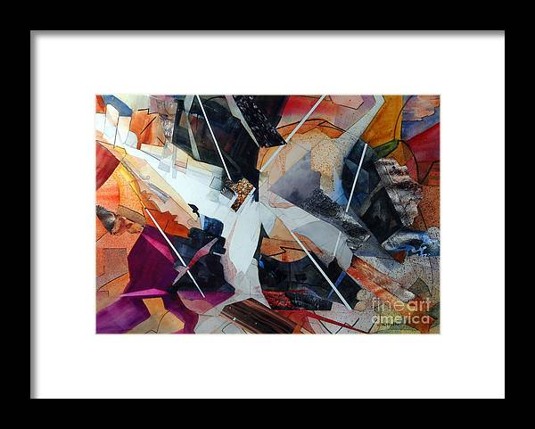 Abstract Framed Print featuring the painting Centerfold I by John W Walker