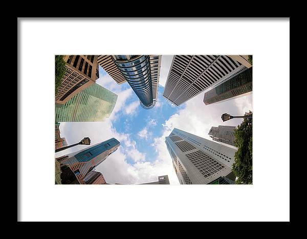 Business Framed Print featuring the photograph Central Business District In Singapore by Anek Suwannaphoom