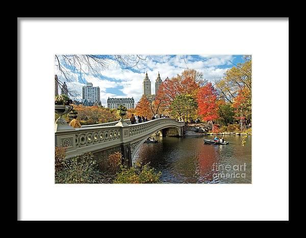 Autumn Framed Print featuring the photograph Central Park Autumn Cityscape by Allan Einhorn