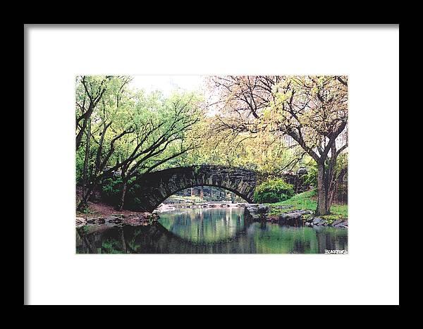 Central Park Framed Print featuring the digital art Central Park Bridge by Al Blackford