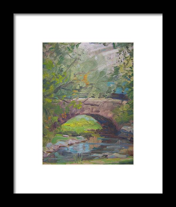 Small Bridge And Pond In Central Park Ny Framed Print featuring the painting Central Park Bridge by Bart DeCeglie