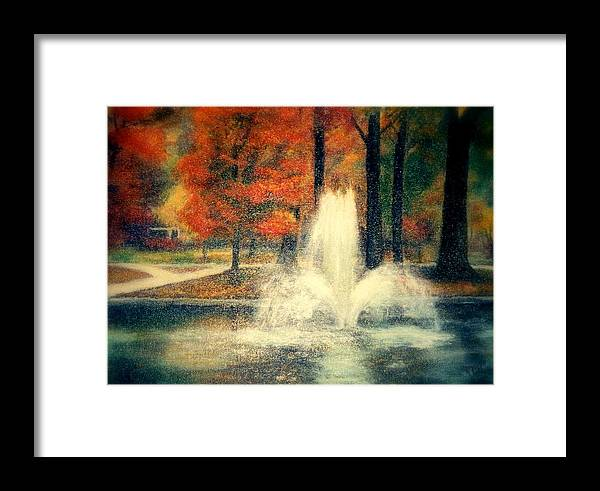 Pond Framed Print featuring the painting Central Park In Autumn by Gail Kirtz