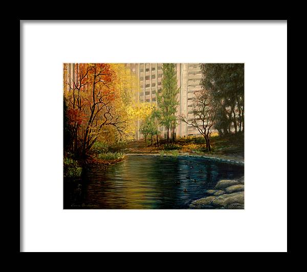 New York Framed Print featuring the painting Central Park by Lance Anderson