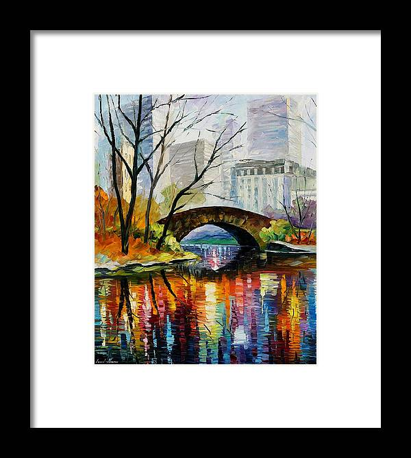 Landscape Framed Print featuring the painting Central Park by Leonid Afremov