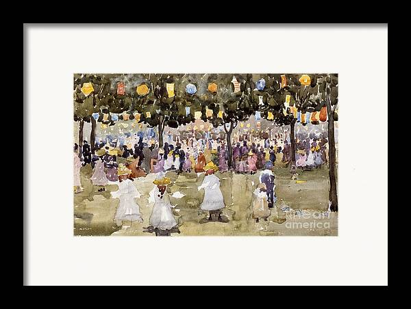Central Park; Park; New York; Manhattan; Outdoors; Celebration; Summer; Summertime; Seasons; Independence Day; 4th July; Children; Lanterns; Decorations; Festive; Crowd; Crowds; Sketch; Atmospheric Framed Print featuring the painting Central Park New York City July Fourth by Maurice Prendergast