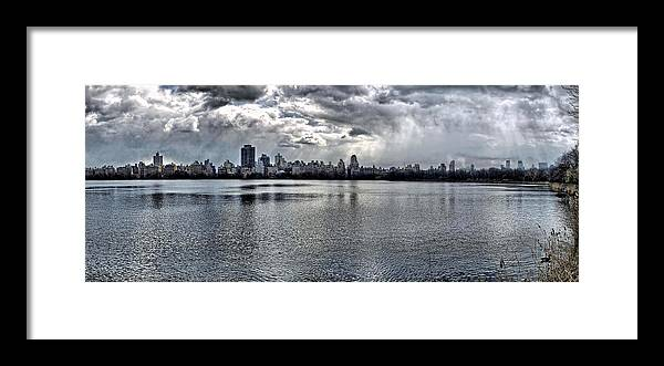 Central Park Framed Print featuring the photograph Central Park Resevoir Panorama by Robert Ullmann
