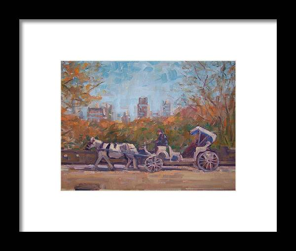 Horse -drawn Carriage In Central Park Ny Framed Print featuring the painting Central Park Tourists by Bart DeCeglie